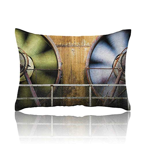 (Anyangeight Industrial Cool Pillowcase Moving Industry Fans Big Machinery Production Technology Twisting Fence Print Long Pillowcase 16