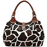 FASH Limited Giraffe Print Satchel Style Top Handle Handbag,Brown,One Size