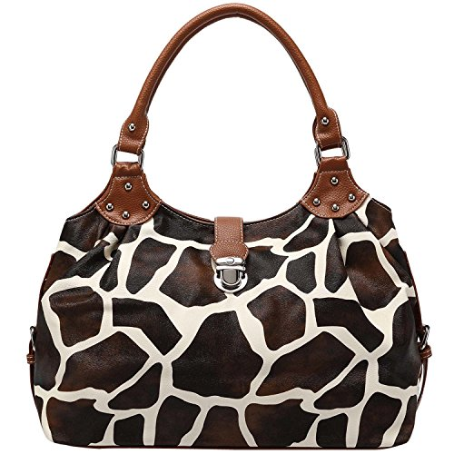 FASH Limited Giraffe Print Satchel Style Top Handle Handbag,Brown,One (Animal Print Satchel)