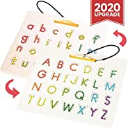 CozyBomB Magnetic Alphabet Tracing Board - Double Sided Alphabet Trace Board - Preschool ABC Writing Learning