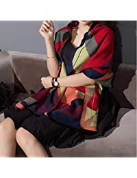 nwn Scarf Cloak Thick Korean Version of The Large Shawl Long Section Warm Wild Autumn and Winter Shawl Female Dual-use (Color : C)