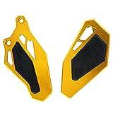 CNC Heel Guard Plate Footrest Rearset Foot Peg Plate Guard Carbon Fiber For Yamaha YZF R3 R25 15 16 (Gold)