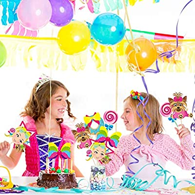PANTIDE JoJo Party Decorations – 30 Pcs JoJo Centerpiece Sticks Table Toppers, Double Sided Cupcake Toppers Photo Booth Props - JoJo Themed Party Supplies Party Favors for Kids Birthday Baby Shower: Toys & Games