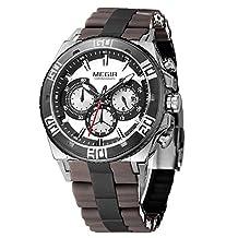 Fanmis Men's Outdoor Brown Silicone Band Chronograph Calendar Waterproof Quartz Wrist Watches Black