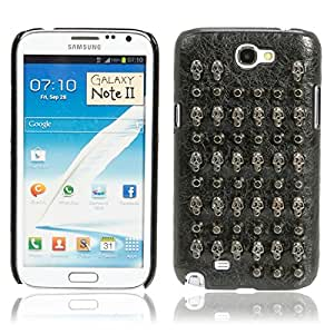 Mzamzi - gran valor metal + plastic protective case with black rivets skull pattern for samsung note2/n7100
