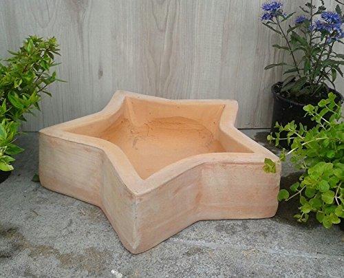 Schale 34 cm breit, echt Terracotta Terrakotta Stern Garten Deko Blumentopf Blumenkübel