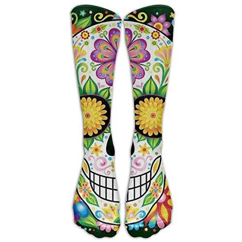 Pink Skull Knee Socks - Women Casual High Knee Socks Artwork Colors Sugar Skulls Abstract Men's Classics Girl Warm Sports Stockings for Travel,Varicose Veins,Pregnancy,Running