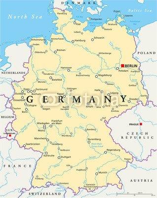 Germany Political Map 71172295 Canvas 80 X 100 Cm Amazon Co Uk