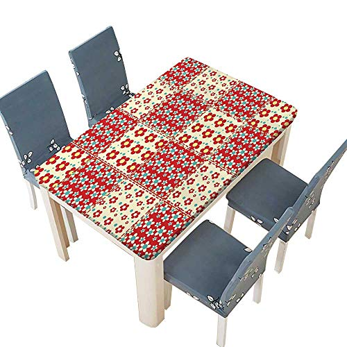 PINAFORE Polyester Tablecloth Traditional Quilt Pattern with Spring Garden Flowers Daisies Light Yellow Turquoise Red Spillproof Tablecloth W73 x L112 INCH (Elastic Edge) ()
