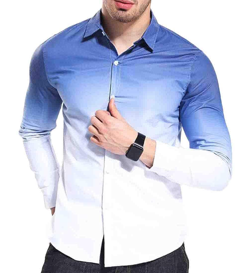 Hmarkt Mens Buttons Business Gradient Color Basic Long Sleeve Shirts