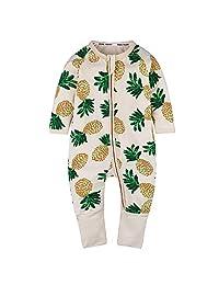 "Kids Tales ""Pineapple Footed Zipper Pajama Sleeper Cotton Romper(Size 4-24M)"
