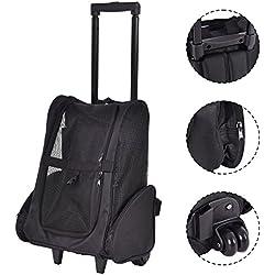 Pet Carrier Dog Cat Rolling Back Pack Travel Airline Wheel Luggage Bag (Black)
