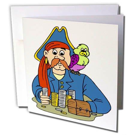 (3dRose TDSwhite - Pirates - Pirate Portrait - 1 Greeting Card with Envelope (gc_285749_5))