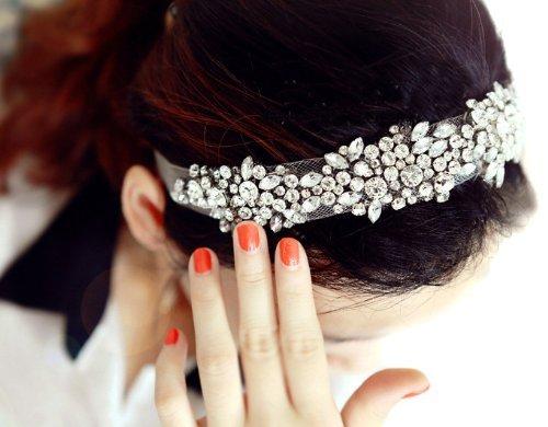 EUBEST Boutique Stylish Women Lady Girls Fashion Elegent Lace Rhinestone Net Yarn Hair Head Bands Hoop Accessories Hairband Headbands Bride Wedding (White)