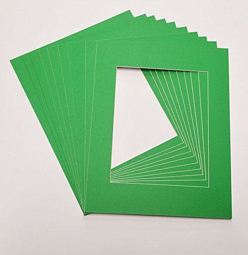 (Poster Palooza Bright Green 16x20 White Picture Mats with White Core for 11x14 Pictures - Fits 16x20 Frame)