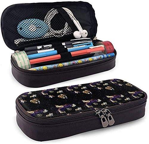 Space Corgis Leather Pencil Case Großformatige Stifttaschenhalter Schreibwaren-Organizer-Tasche für die Schule