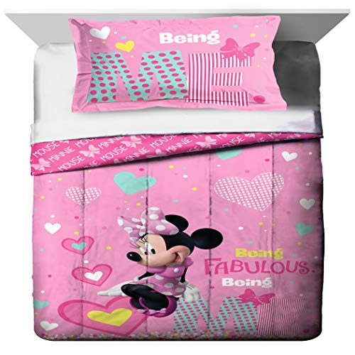 TN 2 Piece Kids Girls White Pink Minnie Mouse Comforter Twin/Full Set, Disney Black Girl Mickey Mouse Bedding Mini Polka Dot Bow Hearts Plaid Teal Blue Yellow, Polyester