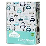Cuddles-Cribs-1-Pack-GOTS-Certified-Organic-Cotton-Fitted-Crib-Sheet-Turquoise-Cars