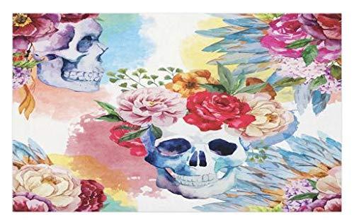 Party Portrait Dress (Lunarable Skull Doormat, Colorful Pattern Skull Headdress Ornament Portrait Watercolor Effect Ethnic Art, Decorative Polyester Floor Mat Non-Skid Backing, 30 W X 18 L inches, Multicolor)