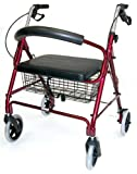 Duro-Med Extra Wide Rollator Walker, Folding Light Weight Aluminum Rollator Walker With Removable Storage Basket And Extra Wide Cushioned Seat