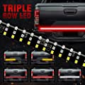 "MIHAZ LED Tailgate Light Bar - 60"" Triple Row 5-Function Strip Light Running, Brake, Sequential Amber Turn Signal, Reverse Tail Light for Pickup Trailer SUV RV VAN, No Drill Install 1yr-Warranty"