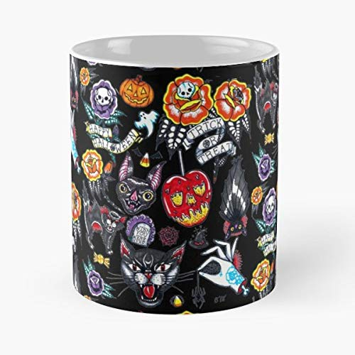 Flash Tattoo Halloween Spooky - White -coffee Mug- Unique Birthday Gift-the Best Gift For Holidays- 11 Oz.]()