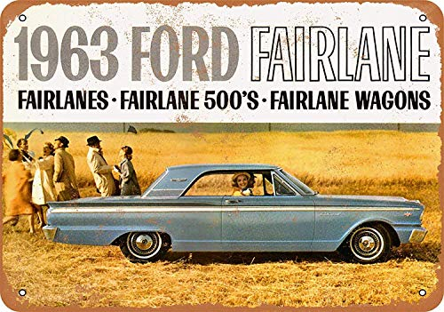 (FemiaD 8 X 12 Vintage Look Metal Sign - 1963 Ford Fairlane Automobiles)