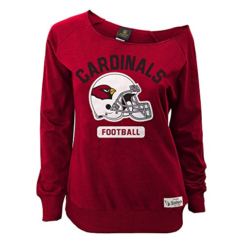 NFL Junior Girls'Wide Receiver' Long Sleeve Boat Neck Sweatshirt, Arizona Cardinals, Cardinal, S(3-5)