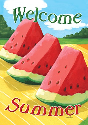 (Toland Home Garden Welcome Summer 28 x 40 Inch Decorative Summer Watermelon Double Sided House Flag)