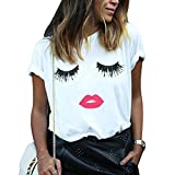 Fashion Womens Summer Casual Tops 3D Print Eyelash Mouth T-Shirt