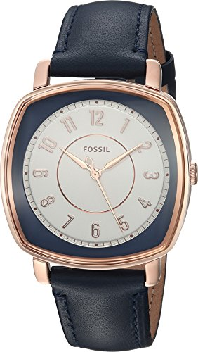 Fossil Women's ES4248SET Idealist Three-Hand Blue Leather Watch and Card Case Box