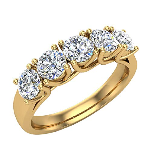 Wedding band 14K Yellow Gold Five Stone Diamond Wedding Ring Trellis Setting 1.10 carat tw (G, I1) (Ring Size 7) (Wedding Ring With Diamonds All The Way Around)