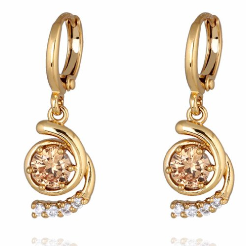 YAZILIND Charming Unique Design Gold Filled Inlay Round Brown Cubic Zirconia Dangle Drop Earrings