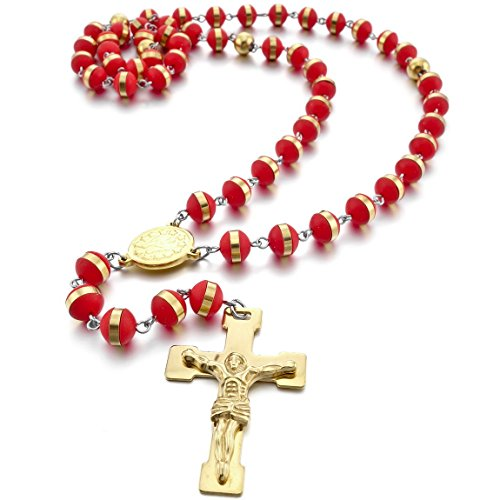 INBLUE Men,Women's Stainless Steel Rubber Pendant Necklace Gold Tone Red Virgin Mary Jesus Christ Crucifix Cross Rosary 26 Inch Chain Red Crucifix