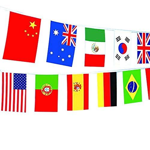 Spar.saa 82 Feet 8.2'' x 5.5''(LxW) International String Flags Banners,100 Countries Flags String for Olympics, Party Event Decoration, Festival, Grand Opening, Bars, Sports Clubs etc.