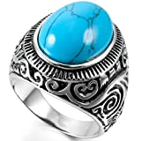 INBLUE Men's Stainless Steel Ring Simulated Turquoise Silver Tone Blue