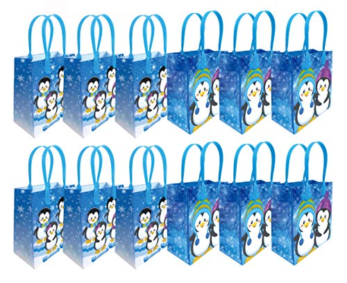 Penguin Winter Themed Party Favor Bags Treat Bags,