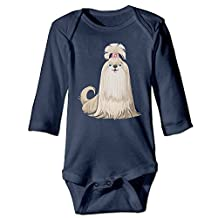 DW Baby Cute Dog Long Sleeve Climb Jumpsuit White