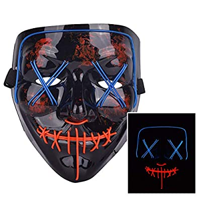 ZOY Scary LED Mask Halloween Costume Light up Mask Cosplay EL Wire Mask Glowing mask (Blue and red): Clothing