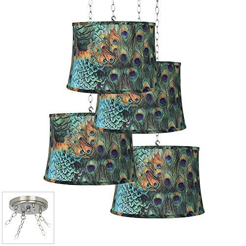 Peacock Print 4-Light Brushed Steel Multi Light Pendant