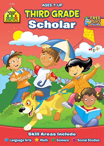 School Zone - Third Grade Scholar Workbook, Ages 7 and Up, Language Arts, Math, Science, Social Studies, and More