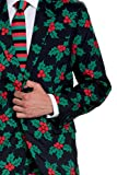 Mens Black Holly Mistletoe Ugly Christmas Suit Outfit