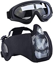 Aoutacc Airsoft Mask with Goggles, Lower Face Protective Mask Foldable Half Face Airsoft Mesh Mask with Ear fo