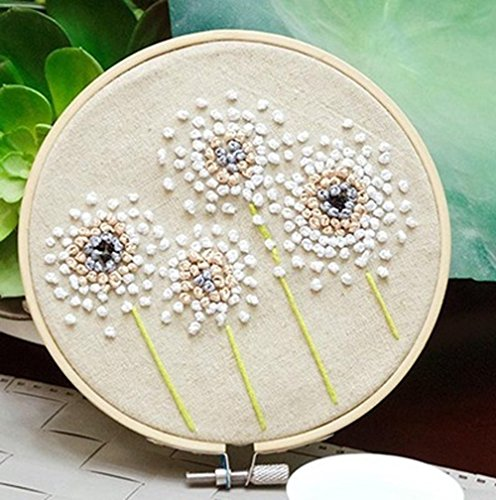 Stamped Embroidery Kit - Eafior DIY Beginner Counted Starter Kit for Art Craft Handy Sewing Including Color Pattern Embroidery Cloth,Embroidery Hoop,Color Threads,Tools Kit