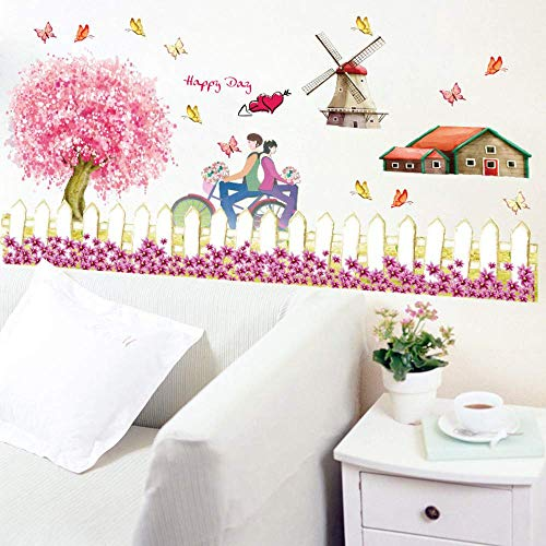 - Wall Stickernew Design Fence Windmill Pattern Pastoral Style Farm Theme Decorative Decals DIY Wall Stickers Home Decor