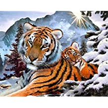 ABEUTY DIY Paint by Numbers for Adults Beginner - Tigers Snow Sunrise 16x20 inches Number Painting Anti Stress Toys (No Frame)