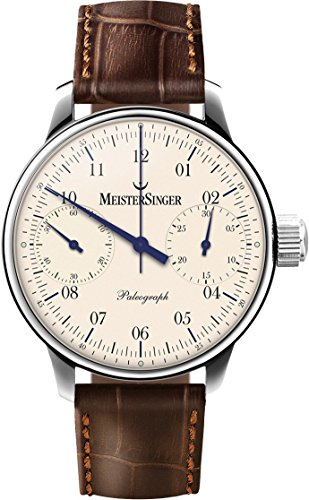 MeisterSinger Paleograph Mens Single-Hand Manual Wind Mechanical Chronograph Watch - 43mm Analog Ivory Face Unique Watch with Sapphire Crystal - Brown Leather Band Swiss Made Luxury Watch Men SC103