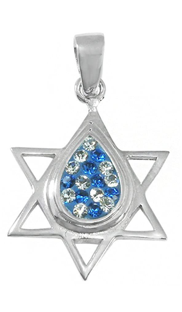 Pendant Sterling Silver /& Synthetic Crystal Teardrop Magen David BTS-NP8250 Jewish Star
