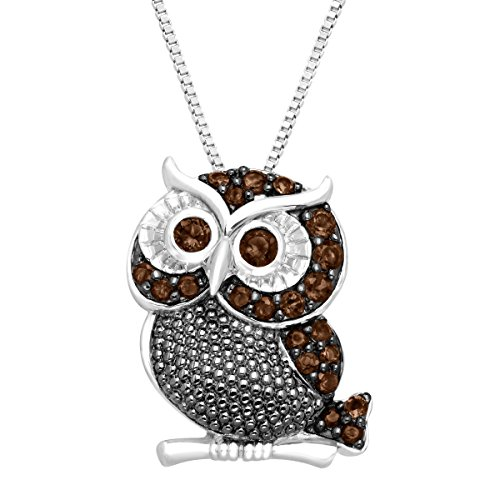 (1/2 ct Natural Smokey Quartz Owl Pendant Necklace in Sterling Silver)