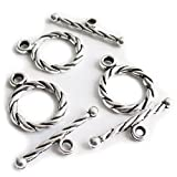 (US) Heather's cf 104 Pieces Silver Tone Twisted Clasp Toggle Findings Jewelry Making 15X11mm/18X5mm